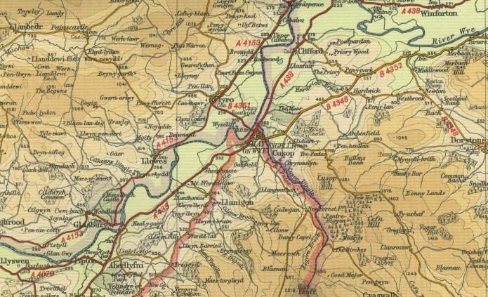Antiguo mapa de Hay-on-Wye, condado de Powys, antiguo condado de Brecknockshire, nación de Gales, Reino Unido de la Gran Bretaña y el Norte de Irlanda.